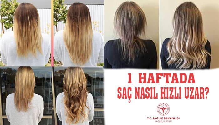 1 haftada hızlı saç uzatan kadınların öncesi ve sonrası görselleri